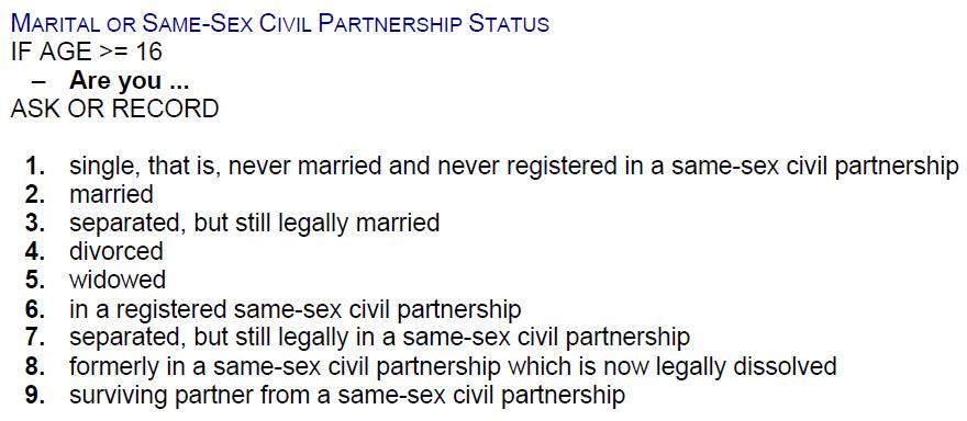 marital status choice ons
